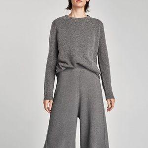 235131f6 Zara Pants - NWT Zara Gray Knit Ribbed Culottes Pants